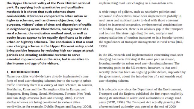 Road User Charging in Rural Areas: Upper Derwent valley, UK