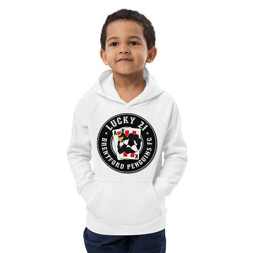 Penguins Lucky 21 (Black Logo) Kids Eco Hoodie