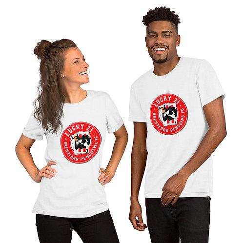 Penguin's Lucky 21 (Red Logo) - Short-Sleeve Unisex T-Shirt