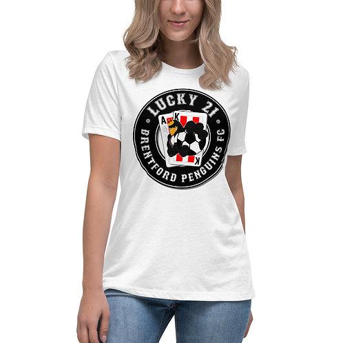 Penguin's Lucky 21 (Black Logo) Women's Relaxed T-Shirt