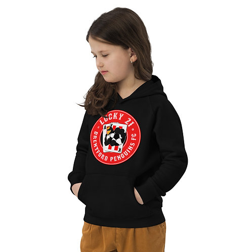 Penguins Lucky 21 (Red Logo) Kids Eco Hoodie