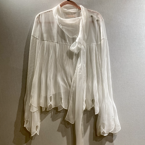 Chloe Cream Shirt with Fluted Sleeves Size 12