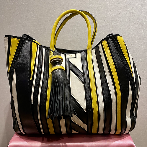 Anya Hindmarch 'Belvedere' Black, Yellow and White Tote