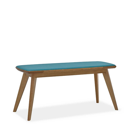Holzbank mit Sitzkissen, Eiche, Zweisitzer