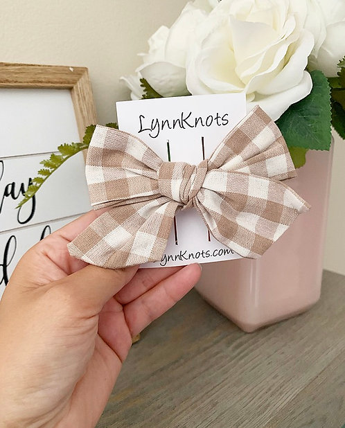 Light Beige Cotton Checkered Bow Clip