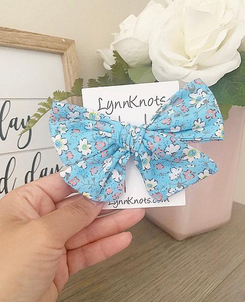Blue Floral Hair Bow Clip