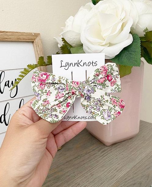 Blossom Floral Cotton Bow Clip
