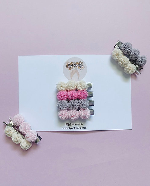 Mini Mesh Pom Pom Clip Sets