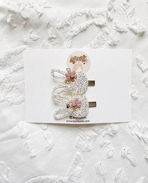 White & Mauve Bunny Clips