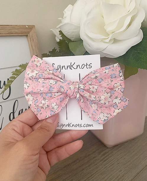 Pink Floral Hair Bow Clip