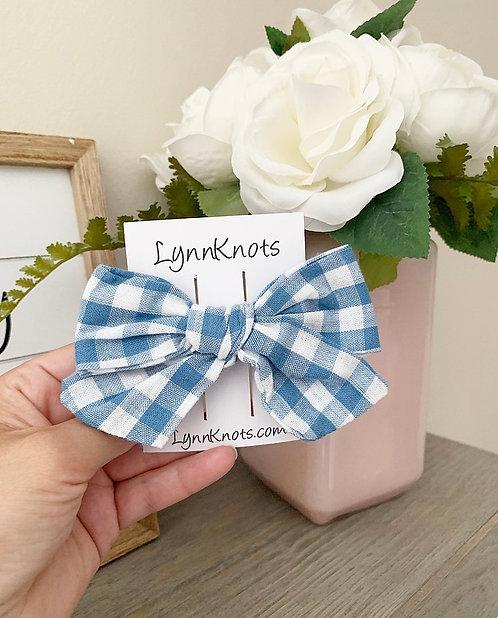 Denim Blue Cotton Checkered Bow Clip