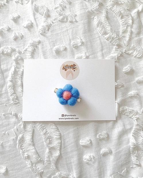 Dainty Blue Floral Wool Hair Clip