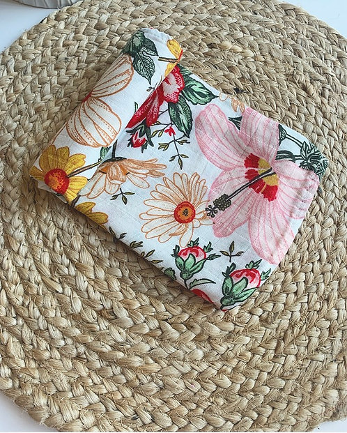 Garden floral baby burp cloth