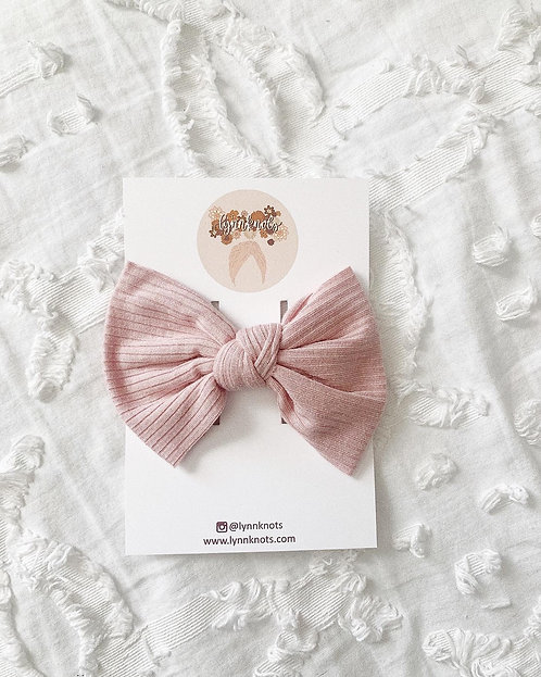 Blush Pink Ribbed Bow