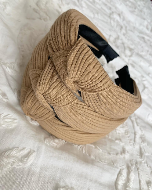 Beige Ribbed Knot Headband