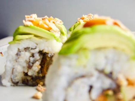 Vegan Sushi: Crispy Eggplant Dragon roll