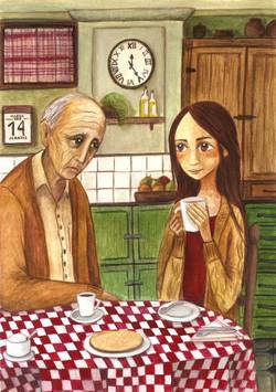 Cécile y Marcel en la cocina