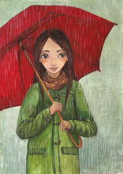 Cécile,el paraguas rojo y la lluvia.