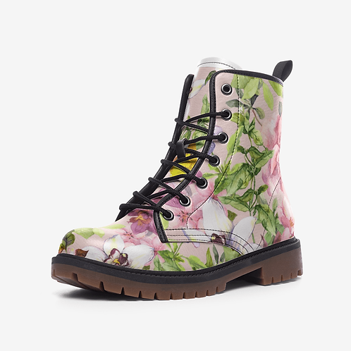 La Bella Floral Leather Combat Boots