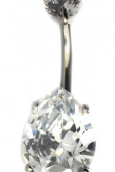 Cubic Zirconia Tear Drop Naval Bar