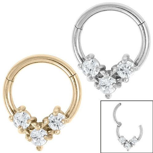 Jewelled Triangle Hinged Clicker Ring