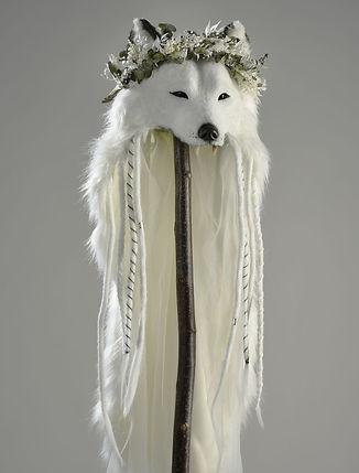 La Beltane : Coiffe loup de mariée avec voile long