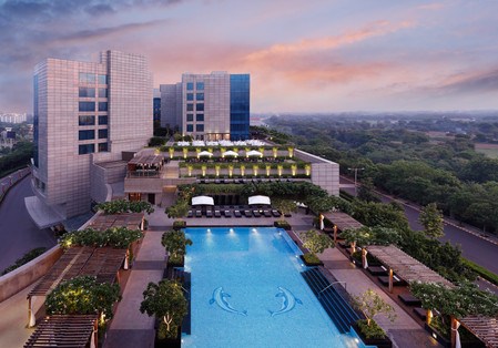Leela Gurgaon Pool Courtyard Exterior