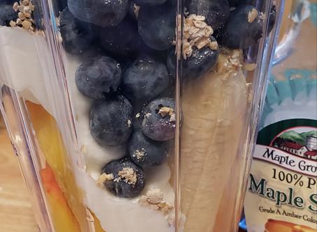 Blueberry Peach Breakfast Smoothie