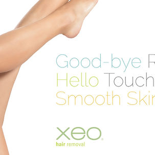A woman's legs on an ad for Xeo laser hair removal treatment from Age-Less Weigh-Less in Dover, NH