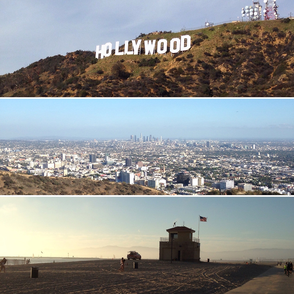 Top to bottom: Hollywood Sign, view toward downtown LA from Runyon Canyon, Playa Del Rey