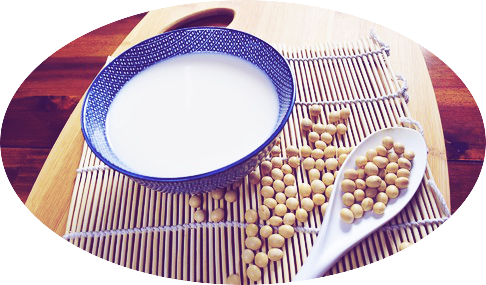 Soy milk is made by soaking and grinding dried soy beans