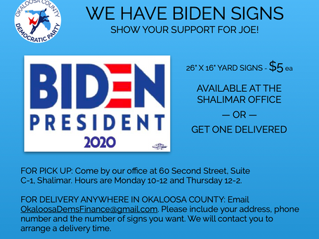 We have Biden signs for $5