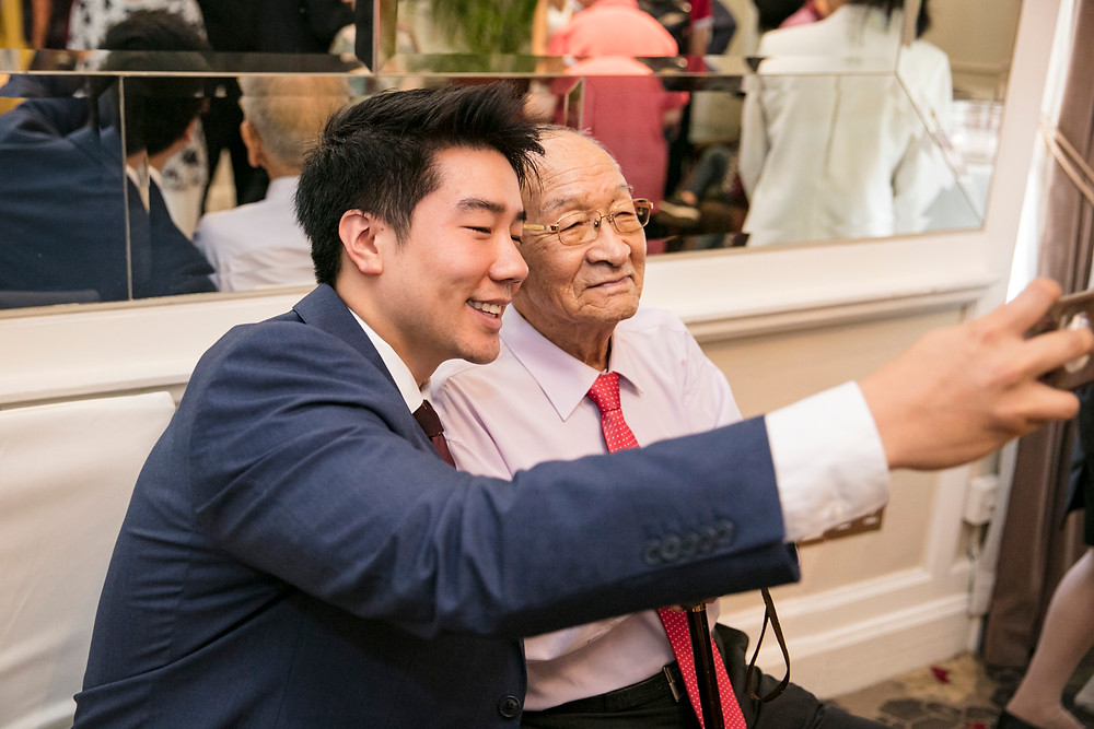Wefie with Grandpa| Wedding at Goodwood Park Hotel| Equarius Photography