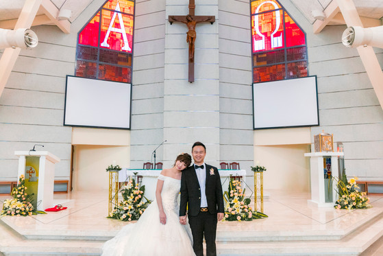 Wedding Day at Church of St Francis of Assisi and Holiday Inn Singapore