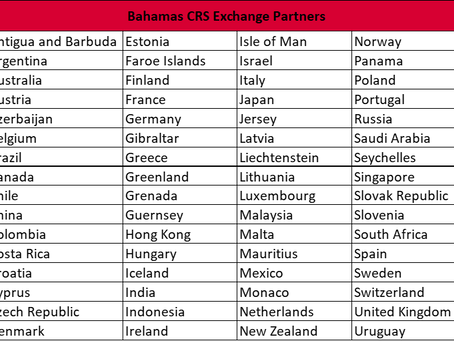 Bahamas Posts New CRS Exchange Partner List