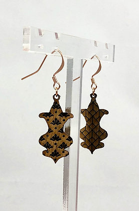 Boucles d'oreilles en bois gravées - Art nouveau Mini