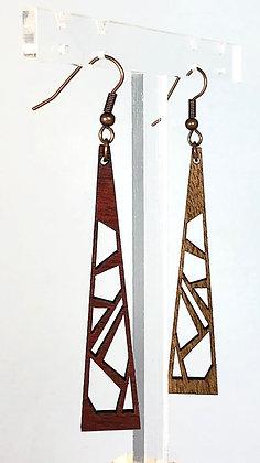 Les ajourées réversibles en bois - Boucles d'oreille Midi