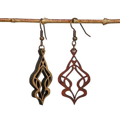 Art nouveau - Boucles d'oreilles en bois réversibles