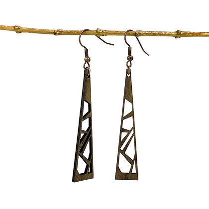Les ajourées en bois - Boucles d'oreilles Midi