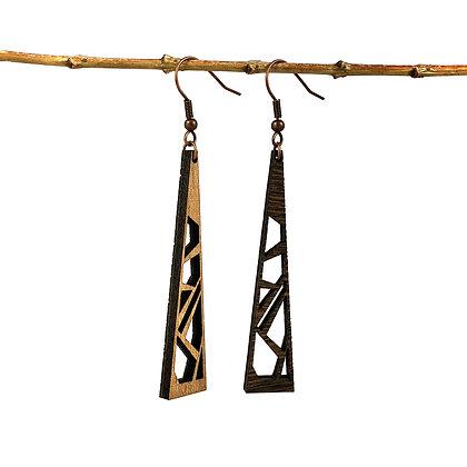 Les ajourées réversibles en bois - Boucles d'oreilles Midi