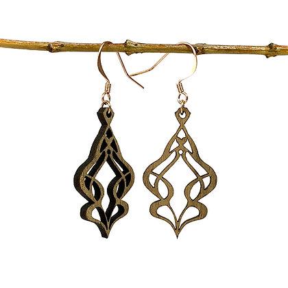 Art nouveau - Boucles d'oreilles en bois