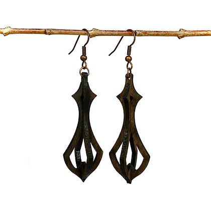 Boucles d'oreilles 3D arrondies en bois