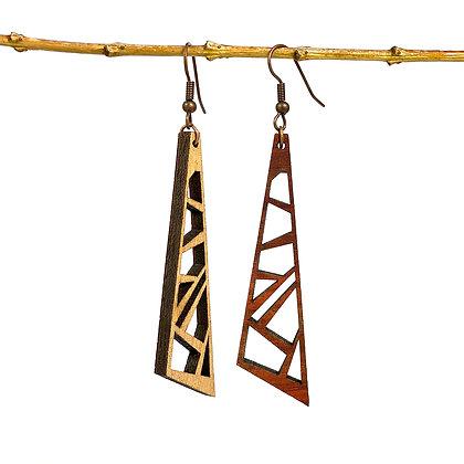 Les ajourées réversibles en bois - Boucles d'oreilles Maxi