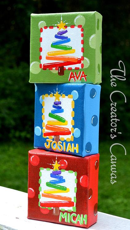 Rainbow Tree 4 x 4 Personalized Canvas Ornament
