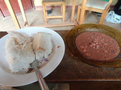 Our lunch: Posho and beans