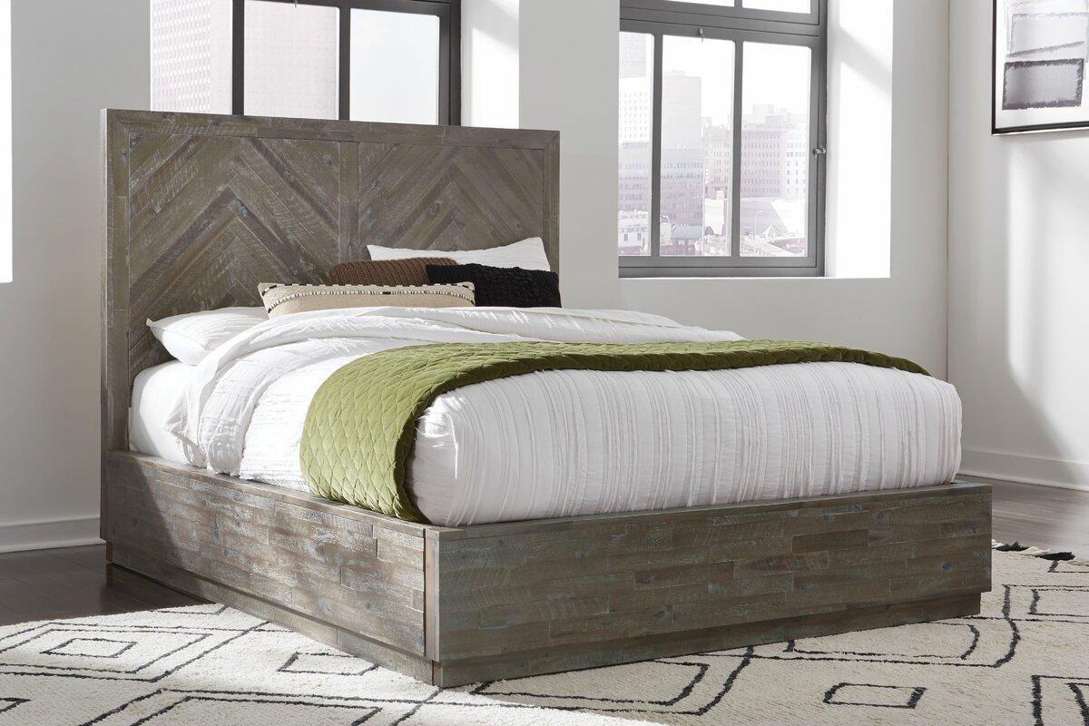 Herringbone Storage Platform Bed