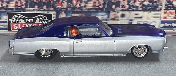 MR SLOTCAR-Street Drag Car Blue/Silver 1970 Monte Carlo