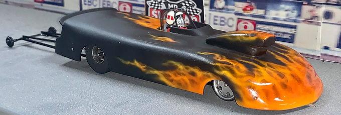 MR SLOTCAR-Super Gas Drag Car Black Flames