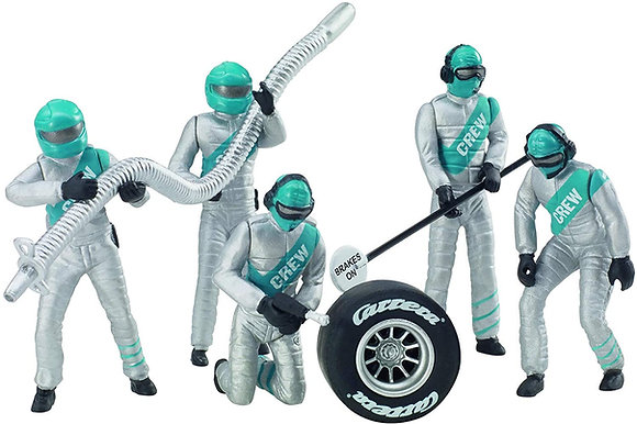 CARRERA 21133 set of 5 figures Mechanics in Silver