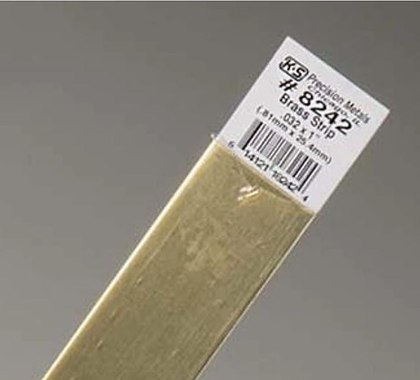 """K&S 8242  BRASS STRIPS .032in X 1"""" (12 Inches long - 1 piece"""